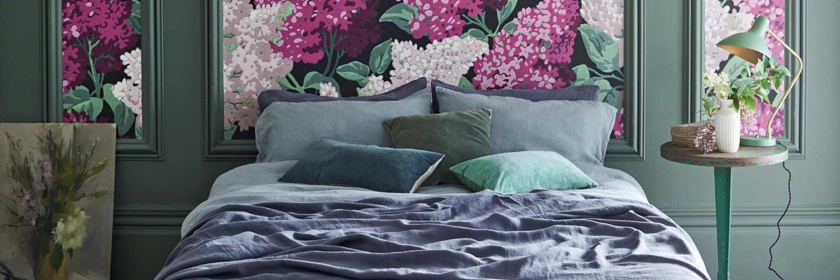 London design-trends 2019: Schlafzimmer mit bunter Blumentapete